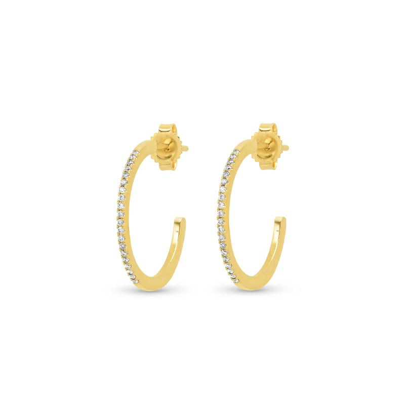 1,8 cm Diamond hoops only front set with diamonds